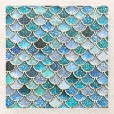 Beach Themed Silver Sparkle Glitter Mermaid Scales Glass Coaster