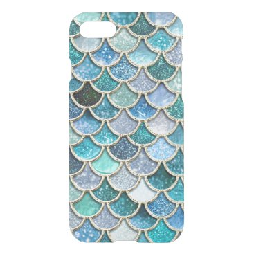 Beach Themed Silver Sparkle Glitter Mermaid Scales iPhone 7 Case