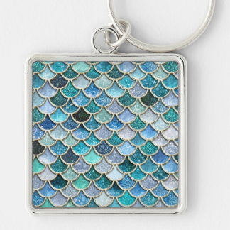 Silver Sparkle Glitter Mermaid Scales Keychain