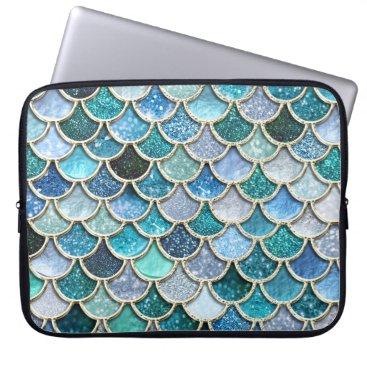Beach Themed Silver Sparkle Glitter Mermaid Scales Laptop Sleeve
