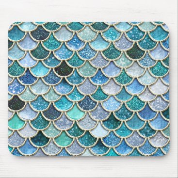 Beach Themed Silver Sparkle Glitter Mermaid Scales Mouse Pad