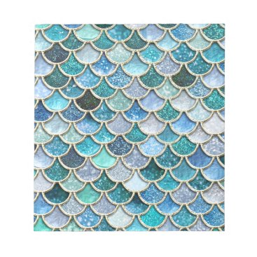 Beach Themed Silver Sparkle Glitter Mermaid Scales Notepad