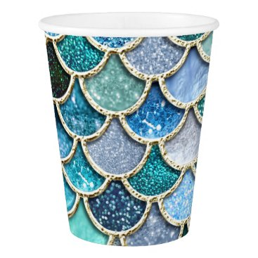Beach Themed Silver Sparkle Glitter Mermaid Scales Paper Cup