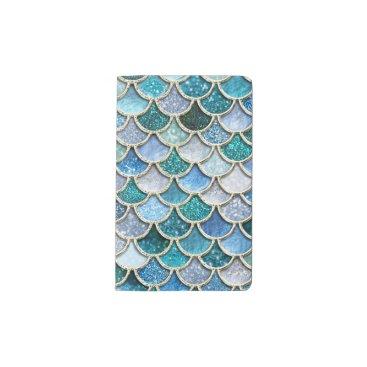 Beach Themed Silver Sparkle Glitter Mermaid Scales Pocket Moleskine Notebook