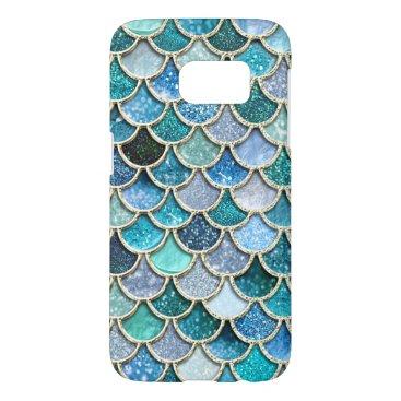 Beach Themed Silver Sparkle Glitter Mermaid Scales Samsung Galaxy S7 Case