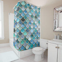 Silver Sparkle Glitter Mermaid Scales Shower Curtain