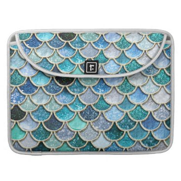 Beach Themed Silver Sparkle Glitter Mermaid Scales Sleeve For MacBook Pro