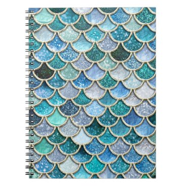 Beach Themed Silver Sparkle Glitter Mermaid Scales Spiral Notebook