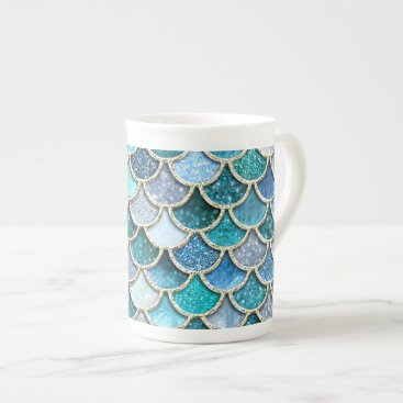 Beach Themed Silver Sparkle Glitter Mermaid Scales Tea Cup