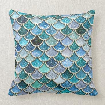 Beach Themed Silver Sparkle Glitter Mermaid Scales Throw Pillow