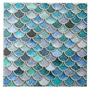Beach Themed Silver Sparkle Glitter Mermaid Scales Tile