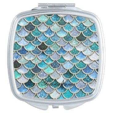 Beach Themed Silver Sparkle Glitter Mermaid Scales Vanity Mirror