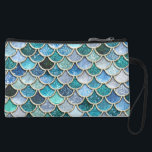 """Silver Sparkle Glitter Mermaid Scales Wristlet Wallet<br><div class=""""desc"""">Wonderful silver and blue mermaid scales. This pattern I created with more than 130 different glitter layers  of glitter textures and sparkling metal foils. This design looks so pretty in your Home. Designed with LOVE by UtART</div>"""