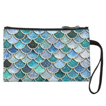 Beach Themed Silver Sparkle Glitter Mermaid Scales Wristlet Wallet