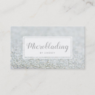 Silver Sparkle Glitter Microblading Business Card