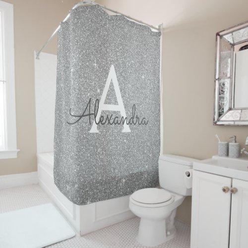 Silver Sparkle Glitter Monogram Name Bathroom Shower Curtain
