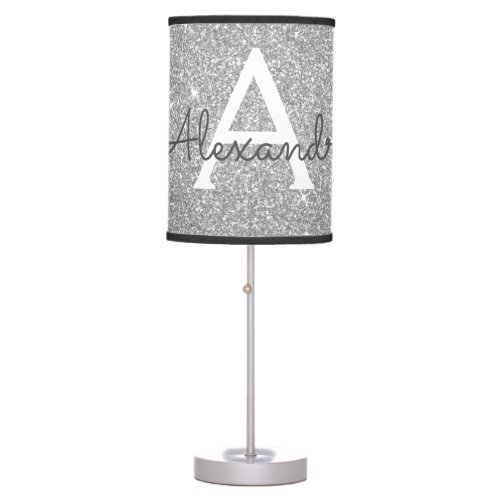 Silver Sparkle Glitter Monogram Name & Initial Table Lamp