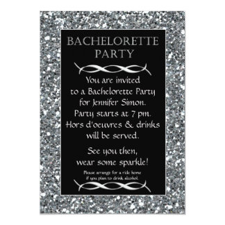 Silver Sparkle Look Bachelorette Party Invitation