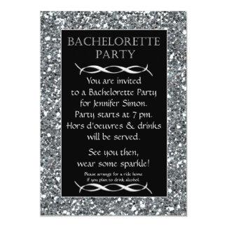 """Silver Sparkle Look Bachelorette Party Invitation 5"""" X 7"""" Invitation Card"""
