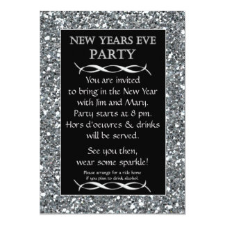 Silver Sparkle Look New Years Eve Party Invitation