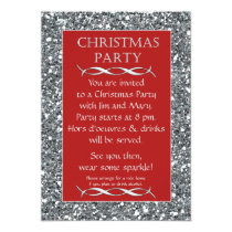 Silver Sparkle Look Red Christmas Party Invitation