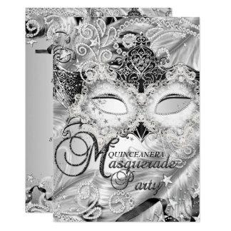 Silver Sparkle Mask Masquerade Quinceanera Card