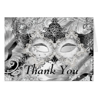 Silver Sparkle Mask Masquerade Thank You Stationery Note Card