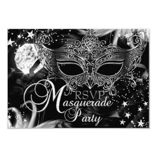 Silver Sparkle Mask Star Night Masquerade RSVP Card