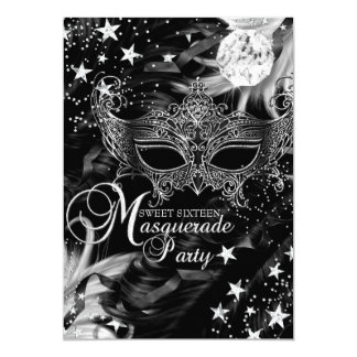 Silver Sparkle Mask Star Night Masquerade Sweet 16 5x7 Paper Invitation Card