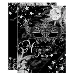 Silver Sparkle Mask Star Night Masquerade Sweet 16 Card
