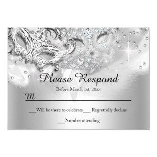 Silver Sparkle Masquerade RSVP Reply Card