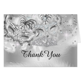 Silver Sparkle Masquerade Thank You Card