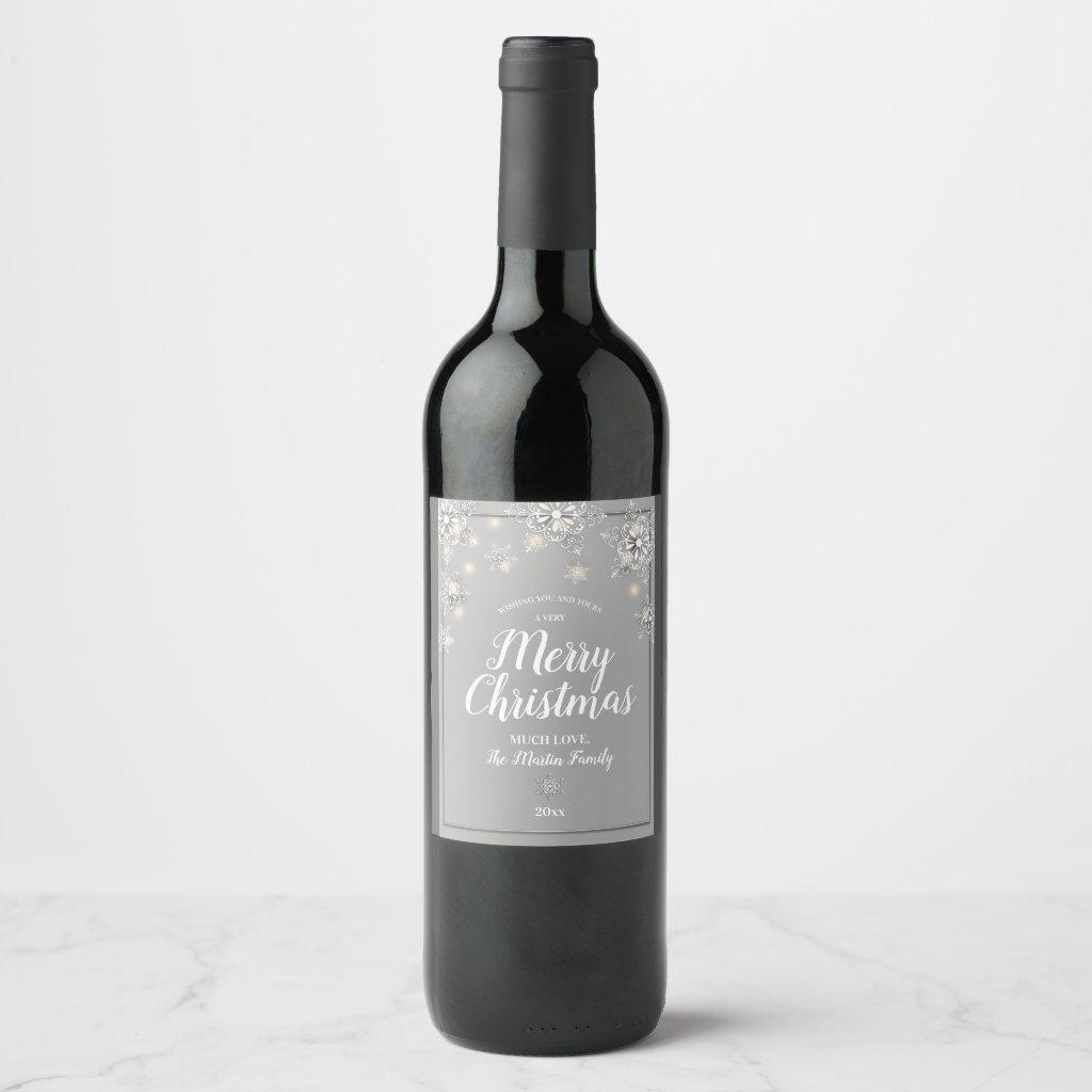 Silver Sparkle Merry Christmas Wine Label