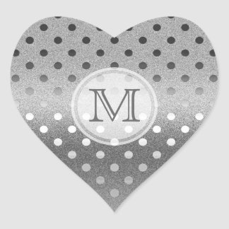 Silver Sparkle: Polka-dots: Monogram Stamp Heart Sticker