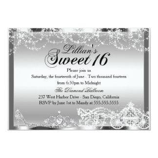 Silver Sparkle Princess Theme Sweet 16 Invite