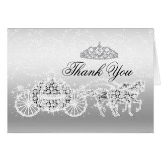 Silver Sparkle Princess Theme Thank You Card
