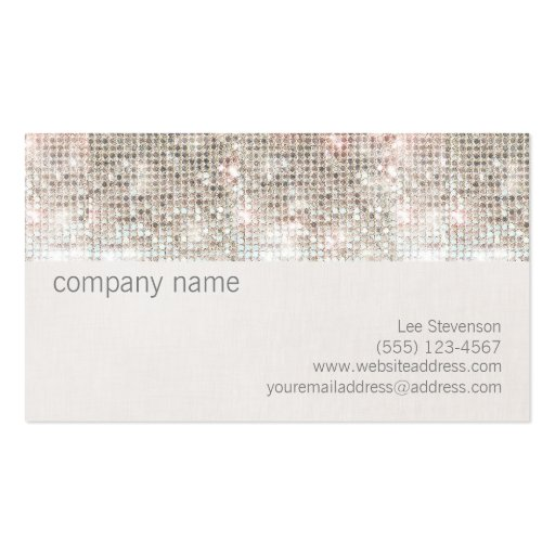 Cute Fun Silver Sparkly Faux Sequin and Linen Business