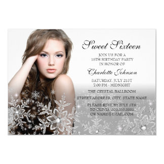 Silver Sparkle Snowflake Photo Sweet 16 Card