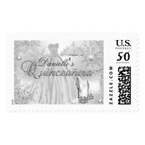 Silver Sparkle Snowflake Quinceanera Stamp