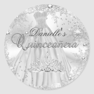Silver Sparkle Snowflake Quinceanera Sticker