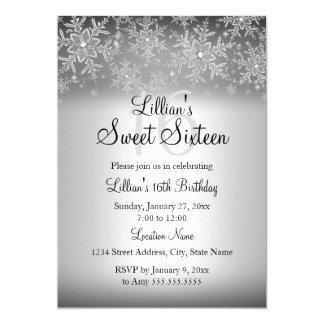 Silver Sparkle Snowflake Sweet 16 Invitation