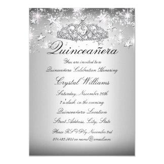 Silver Sparkle Tiara & Stars Quinceanera Invite