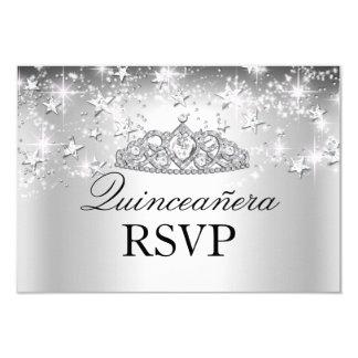 Silver Sparkle Tiara & Stars Quinceanera RSVP Card