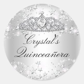 Silver Sparkle Tiara & Stars Quinceanera Sticker