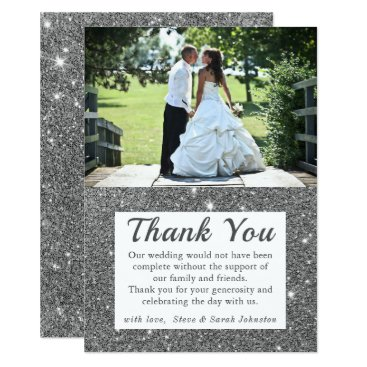 Wedding Themed Silver Sparkle Wedding Photo Thank You Cards
