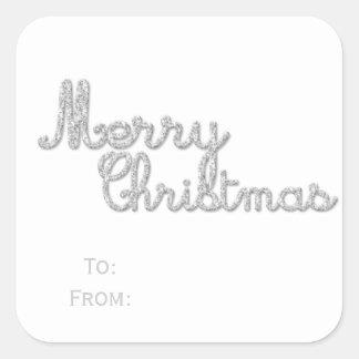 Silver Sparkles Merry Christmas Sticker