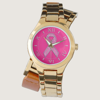 Silver Sparkles Styles Pink Ribbon Awareness Dial Wrist Watch