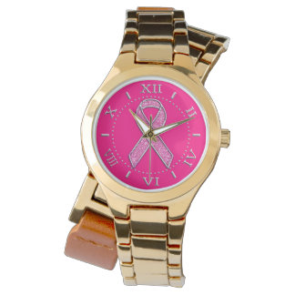 Silver Sparkles Styles Pink Ribbon Awareness Dial Wristwatches