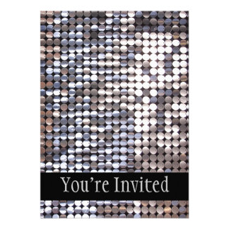 Silver Sparkling Sequin Look Personalized Announcements
