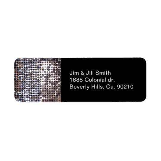 Silver Sparkling Sequin Look Label